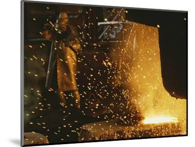 Sparks Fly from a Steel Furnace, Utah-James P^ Blair-Mounted Photographic Print