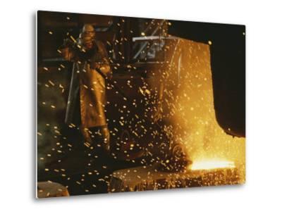 Sparks Fly from a Steel Furnace, Utah-James P^ Blair-Metal Print