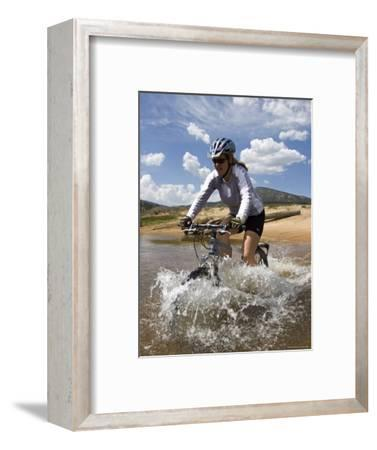 Woman Mountain Bikes Through Wild and Scenic South Fork Kern River-Rich Reid-Framed Photographic Print