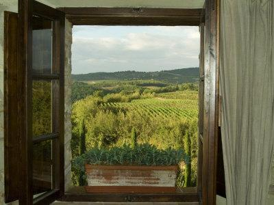 Window Looking Out Across Vineyards of the Chianti Region, Tuscany, Italy-Todd Gipstein-Framed Photographic Print