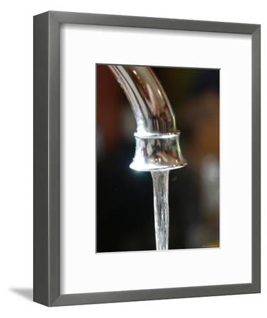 Water Flows Out of a Stainless Steel Faucet, Chevy Chase, Maryland-Stacy Gold-Framed Photographic Print