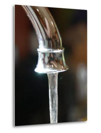 Water Flows Out of a Stainless Steel Faucet, Chevy Chase, Maryland-Stacy Gold-Metal Print