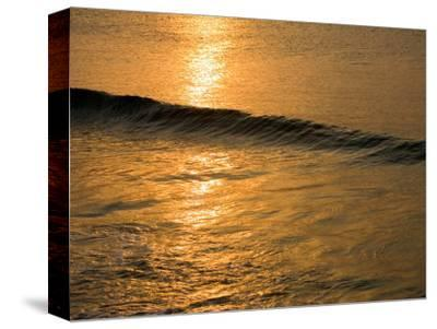 Waves Break at Sunset Along the Waterfront, Cozumel, Mexico-Michael S^ Lewis-Stretched Canvas Print