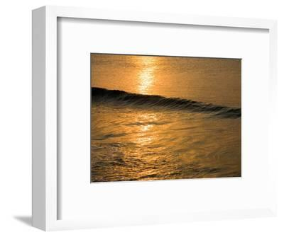 Waves Break at Sunset Along the Waterfront, Cozumel, Mexico-Michael S^ Lewis-Framed Photographic Print