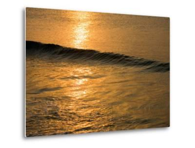Waves Break at Sunset Along the Waterfront, Cozumel, Mexico-Michael S^ Lewis-Metal Print