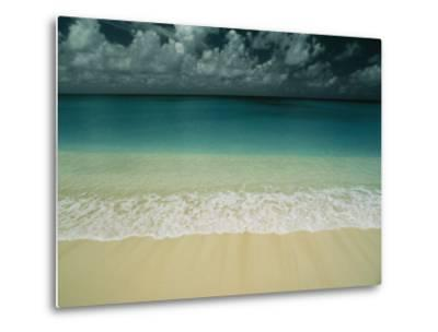Wave Rolls over a Tranquil Beach in the Marshall Islands-Bill Curtsinger-Metal Print