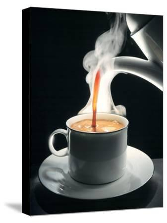 Coffee Being Poured into a Cup--Stretched Canvas Print