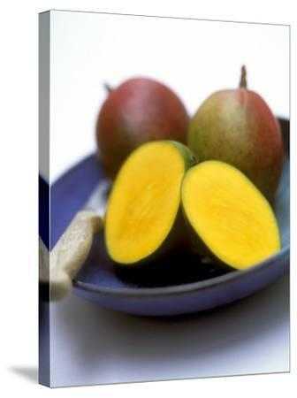 Mangos, One Cut Open-William Lingwood-Stretched Canvas Print