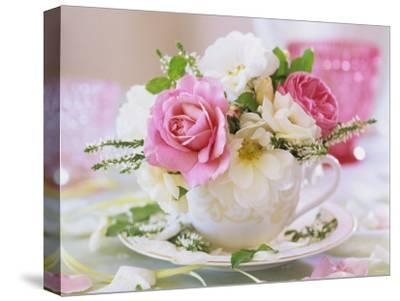 White and Pink Roses and Heather in a Cup-Friedrich Strauss-Stretched Canvas Print