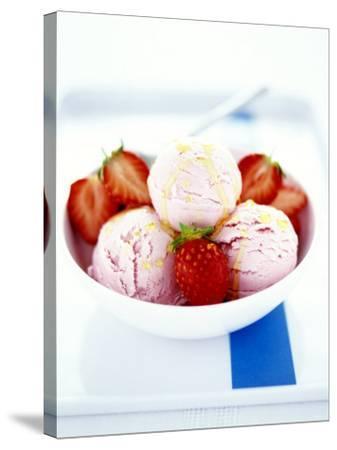 Strawberry Yoghurt Ice Cream with Honey Sauce-Antje Plewinski-Stretched Canvas Print