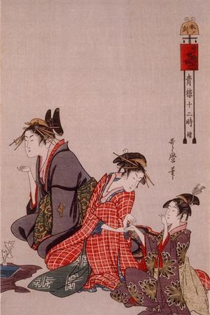 Beauty-Kitagawa Utamaro-Stretched Canvas Print