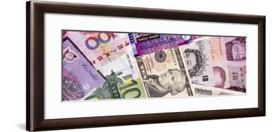 Close-Up of Assorted Currencies of Different Countries--Framed Photographic Print