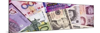 Close-Up of Assorted Currencies of Different Countries--Mounted Photographic Print