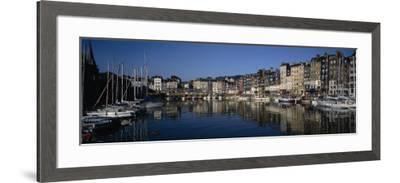 Boats Docked at a Harbor, Honfleur, Normandy, France--Framed Photographic Print