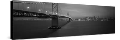 Bay Bridge Lit Up at Night, San Francisco, California, USA--Stretched Canvas Print
