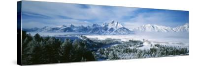 Snowcapped Mountains in Grand Teton National Park, Wyoming., USA--Stretched Canvas Print