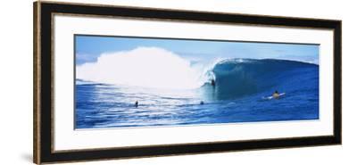 Three People Bodyboarding in the Ocean, Tahiti, French Polynesia--Framed Photographic Print