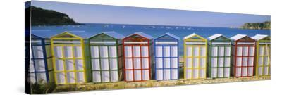 Beach Huts in a Row on the Beach, Catalonia, Spain--Stretched Canvas Print