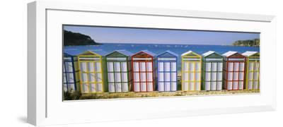 Beach Huts in a Row on the Beach, Catalonia, Spain--Framed Photographic Print