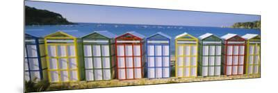 Beach Huts in a Row on the Beach, Catalonia, Spain--Mounted Photographic Print