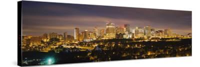 Illuminated Building at Night, Edmonton, Alberta, Canada--Stretched Canvas Print