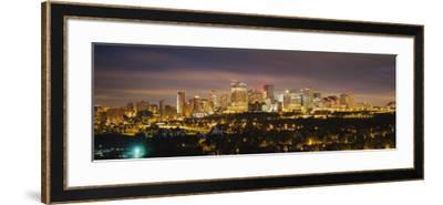 Illuminated Building at Night, Edmonton, Alberta, Canada--Framed Photographic Print