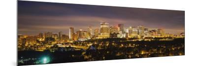 Illuminated Building at Night, Edmonton, Alberta, Canada--Mounted Photographic Print