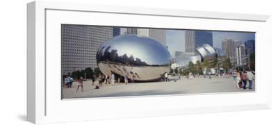 People in a Park, Cloud Gate, Millennium Park, Chicago, Illinois, USA--Framed Photographic Print