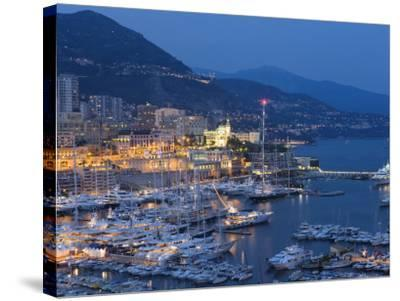 Harbour at Dusk, Monte Carlo, Monaco-Peter Adams-Stretched Canvas Print