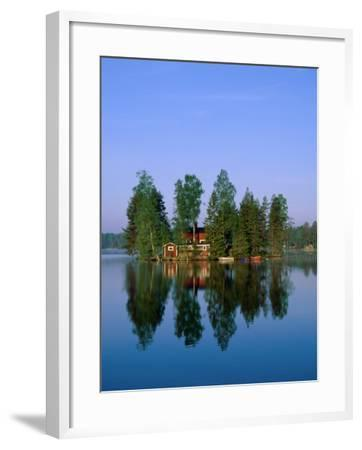 Lake View, House on Island, Sormland, Sweden-Steve Vidler-Framed Photographic Print