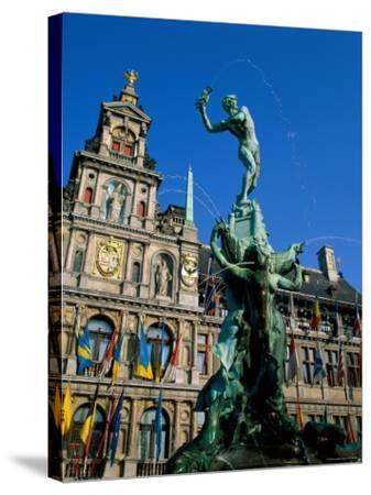 Brabo Fountain and Town Hall, Antwerp, Eastern Flanders, Belgium-Steve Vidler-Stretched Canvas Print