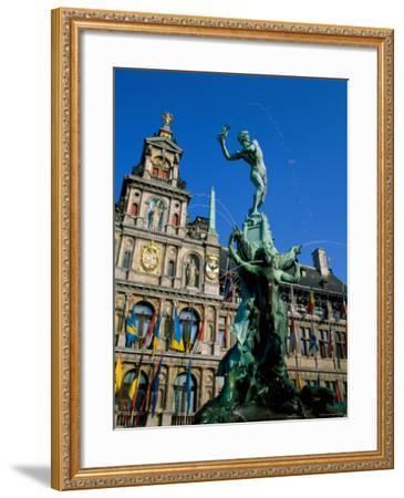 Brabo Fountain and Town Hall, Antwerp, Eastern Flanders, Belgium-Steve Vidler-Framed Photographic Print