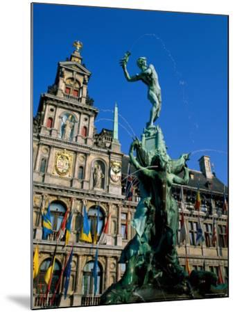 Brabo Fountain and Town Hall, Antwerp, Eastern Flanders, Belgium-Steve Vidler-Mounted Photographic Print