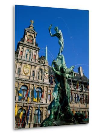 Brabo Fountain and Town Hall, Antwerp, Eastern Flanders, Belgium-Steve Vidler-Metal Print