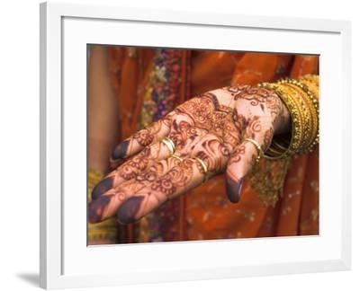 Wedding Guest Showing Henna Marking on Her Hand, Dubai, United Arab Emirates-Jane Sweeney-Framed Photographic Print