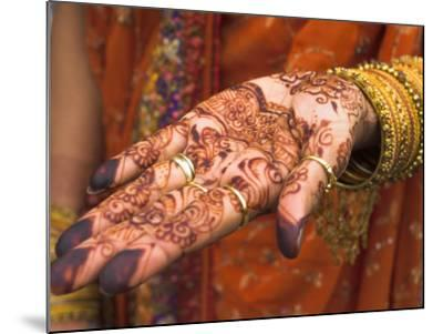 Wedding Guest Showing Henna Marking on Her Hand, Dubai, United Arab Emirates-Jane Sweeney-Mounted Photographic Print