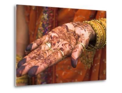 Wedding Guest Showing Henna Marking on Her Hand, Dubai, United Arab Emirates-Jane Sweeney-Metal Print