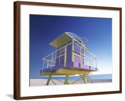 Lifeguard Station at Miami Beach, Miami, USA-Peter Adams-Framed Photographic Print