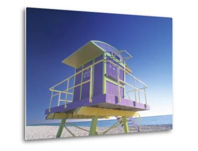 Lifeguard Station at Miami Beach, Miami, USA-Peter Adams-Metal Print