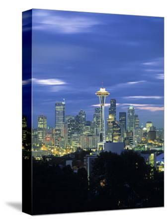 Seattle Skyline Fr. Queen Anne Hill, Washington, USA-Walter Bibikow-Stretched Canvas Print
