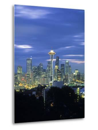 Seattle Skyline Fr. Queen Anne Hill, Washington, USA-Walter Bibikow-Metal Print