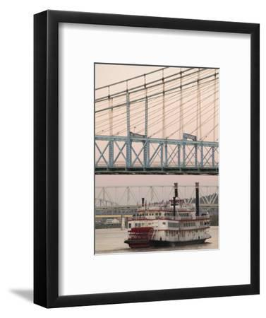 Riverboat on Ohio River and, Roebling Suspension Bridge, Cincinnati, Ohio, USA-Walter Bibikow-Framed Photographic Print