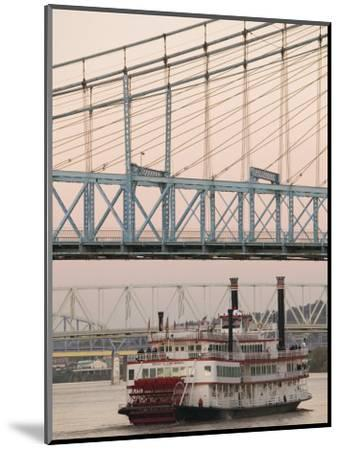 Riverboat on Ohio River and, Roebling Suspension Bridge, Cincinnati, Ohio, USA-Walter Bibikow-Mounted Photographic Print