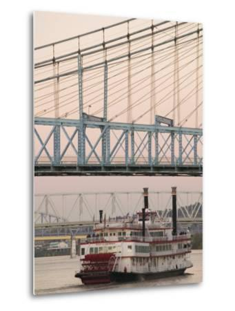 Riverboat on Ohio River and, Roebling Suspension Bridge, Cincinnati, Ohio, USA-Walter Bibikow-Metal Print