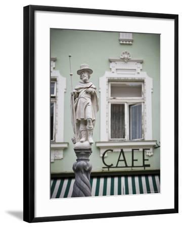 Fountain Detail and Cafe, Melk, Wachau, Lower Austria, Austria-Doug Pearson-Framed Photographic Print