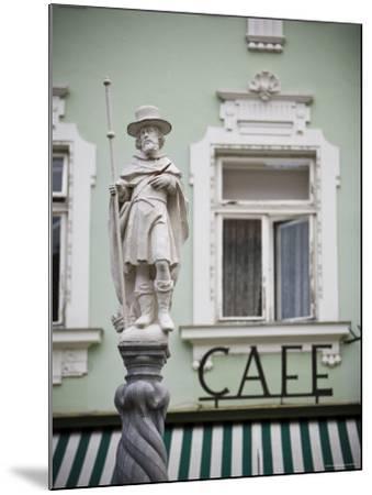 Fountain Detail and Cafe, Melk, Wachau, Lower Austria, Austria-Doug Pearson-Mounted Photographic Print