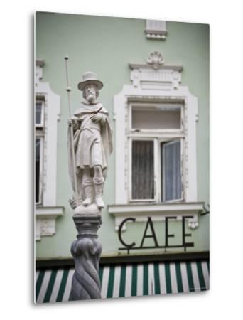 Fountain Detail and Cafe, Melk, Wachau, Lower Austria, Austria-Doug Pearson-Metal Print
