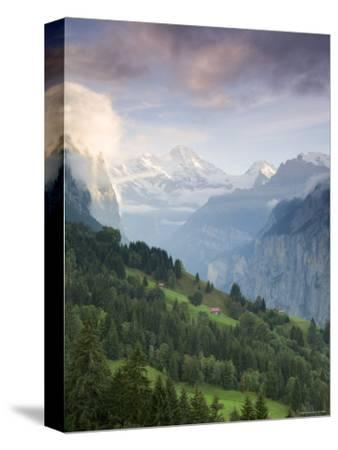 Wengen and Lauterbrunnen Valley, Berner Oberland, Switzerland-Doug Pearson-Stretched Canvas Print