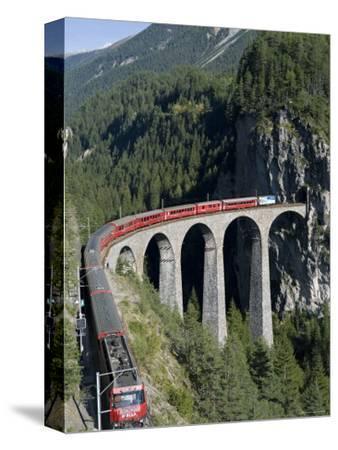 Glacier Express and Landwasser Viaduct, Filisur, Graubunden, Switzerland-Doug Pearson-Stretched Canvas Print