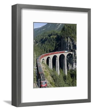 Glacier Express and Landwasser Viaduct, Filisur, Graubunden, Switzerland-Doug Pearson-Framed Photographic Print
